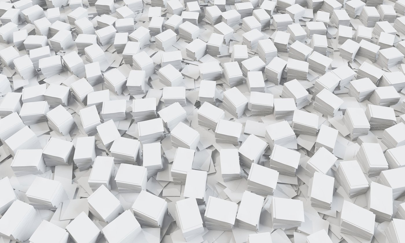 Wholesale paper on floor.