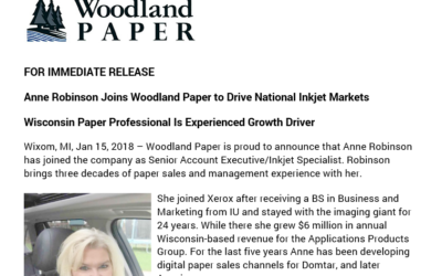 Anne Robinson Joins Woodland Paper to Drive National Inkjet Markets