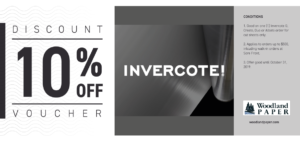 10% off Invercote paperboard.